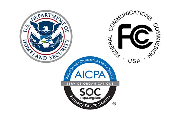 Logos for DHS, FCC, AICPA-SOC